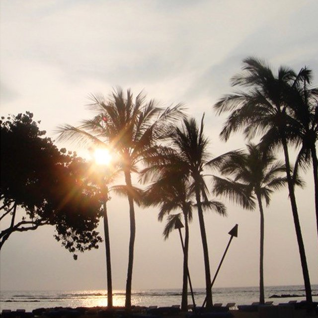 Hawaii sunset with torches